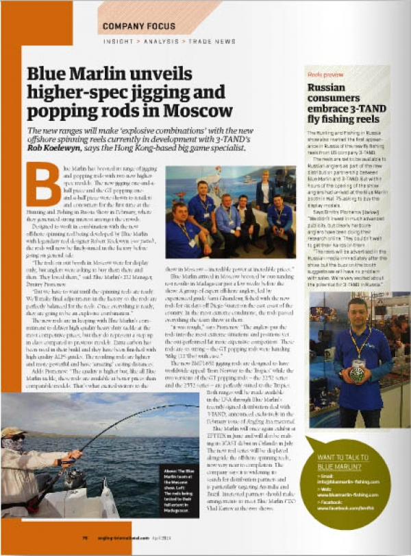 In April issue of Angling International published editorial