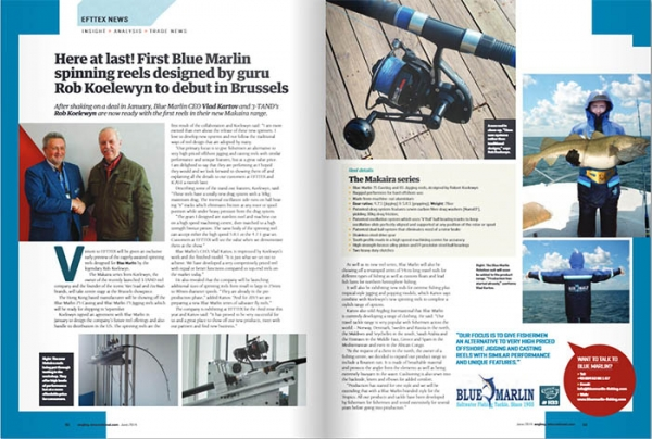 In June issue of Angling International published editorial about our new reel and flotation suit on page 92-93